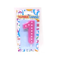 1 Number Pink Polka Dot Candle