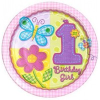 Hugs and Stitches 1st Birthday Girl Foil Balloon