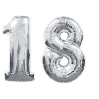 18 Number Silver Foil Balloons