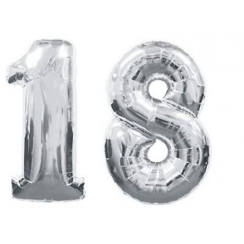 """18 Number Silver Balloons 42"""" Size"""