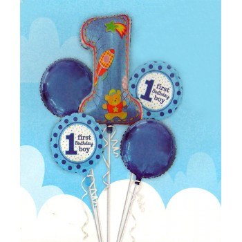 1st Birthday Boy Foil Balloons Set