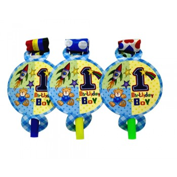 1st Birthday Boy Theme Paper Blow Out Whistles