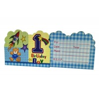 1st Birthday Boy Theme Paper Invitation Cards