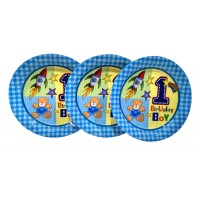 1st Birthday Boy Theme Paper Plates