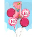 1st Birthday Girl Balloons Set