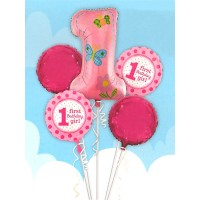 1st Birthday Girl Foil Balloons Set