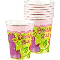 Hugs and Stitches 1st Birthday Girl Theme Paper Cups