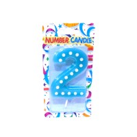 2 Number Blue Polka Dot Candle