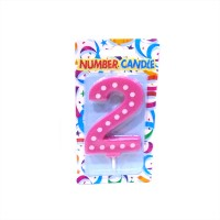 2 Number Pink Polka Dot Candle