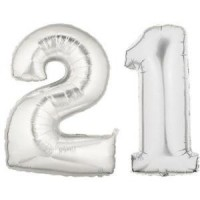 21 Number Silver Balloon