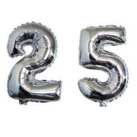 25 Number Silver Balloon