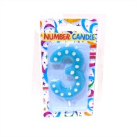 3 Number Blue Polka Dot Candle
