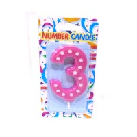 3 Number Pink Polka Dot Candle