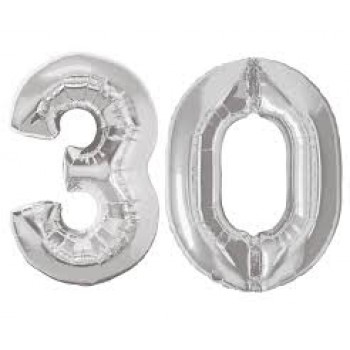 """30 Number Silver Balloons 42"""" Size"""