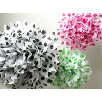Assorted Polka Dot Paper Pom Poms (Pack Of 5)