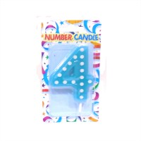 4 Number Blue Polka Dot Candle
