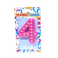 4 Number Pink Polka Dot Candle