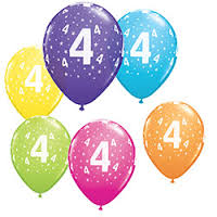 4 Number Star Around Printed Latex Balloons (10 Pcs)