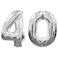 """40 Number Silver Balloons 42"""" Size"""