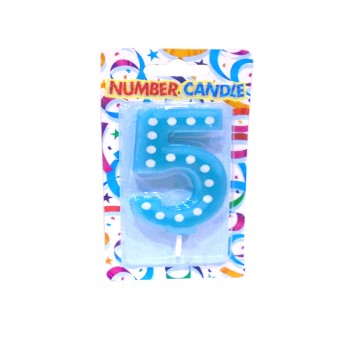 5 Number Blue Polka Dot Candle