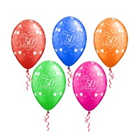 Assorted Happy 50th Anniversary Printed Balloons (Pack of 10 Pcs)