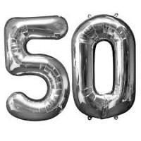 50 Number Silver Foil Balloons