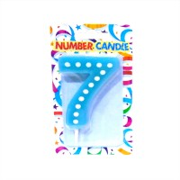 7 Number Blue Polka Dot Candle