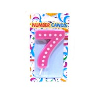 7 Number Pink Polka Dot Candle
