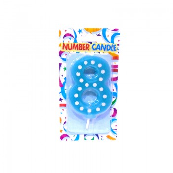 8 Number Blue Polka Dot Candle