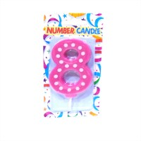 8 Number Pink Polka Dot Candle