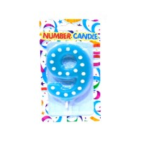 9 Number Blue Polka Dot Candle