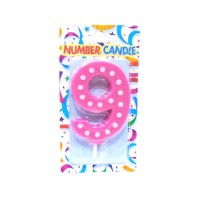 9 Number Pink Polka Dot Candle