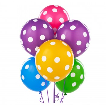 Assorted Polka Dot Balloons (Pack of 10 Pcs)