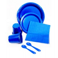 Blue Solid Colour Plastic Disposable Set