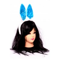 Bunny Hair Band (white and blue studded)