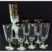 Metallic Champagne Glass With Silver Lining ( Pack of 12 Pcs)