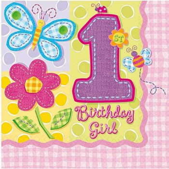 Hugs and Stitches 1st Birthday Girl Theme Paper Napkins