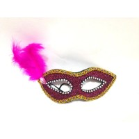 Pink Glitter Foam Mask With Feather