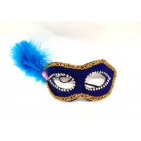 Blue Glitter Foam Mask With Feather