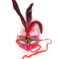 Pink  Mask With Feather