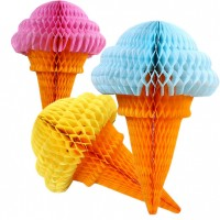 Ice Cream Cone Tissue Paper Honeycomb (Pack of 1)