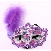 Purple Lace Eye Masks with Feather