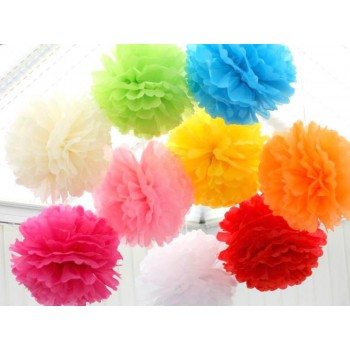 Assorted Color Pom Poms Set Of 9