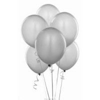 Silver Latex Metallic Balloon (Pack of 50)