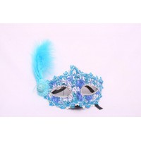 Turquoise Lace Eye Masks With Feather