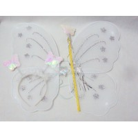 White Fairy Set(wings,head band and wond)