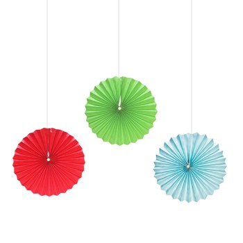 Assorted Color Paper Fans (Pack of 3)