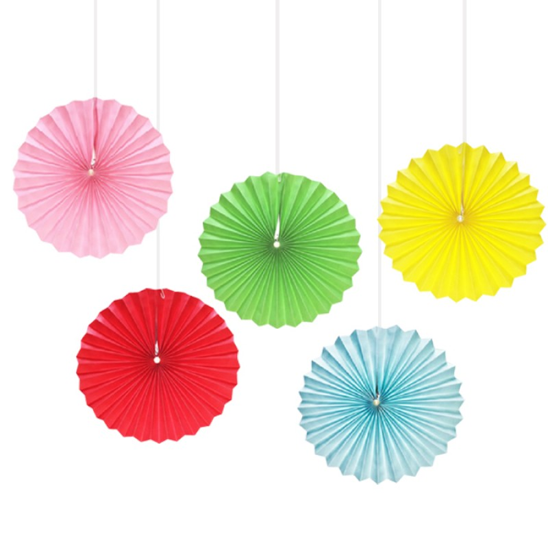 assorted color paper fans pack of 5