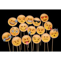 Assorted Design Emoji Photobooth Stick Props (12 Pcs)