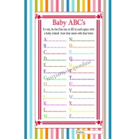 "Baby Shower ABC's Word Game Pack of 6 (size 11.7"" x 8.3"")"